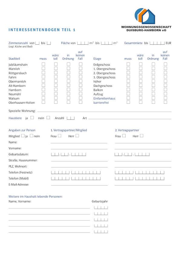 Wohnungsbewerbung  Wohnungsgenossenschaft Duisburg