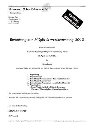 Einladung Mitgliederversammlung 2013