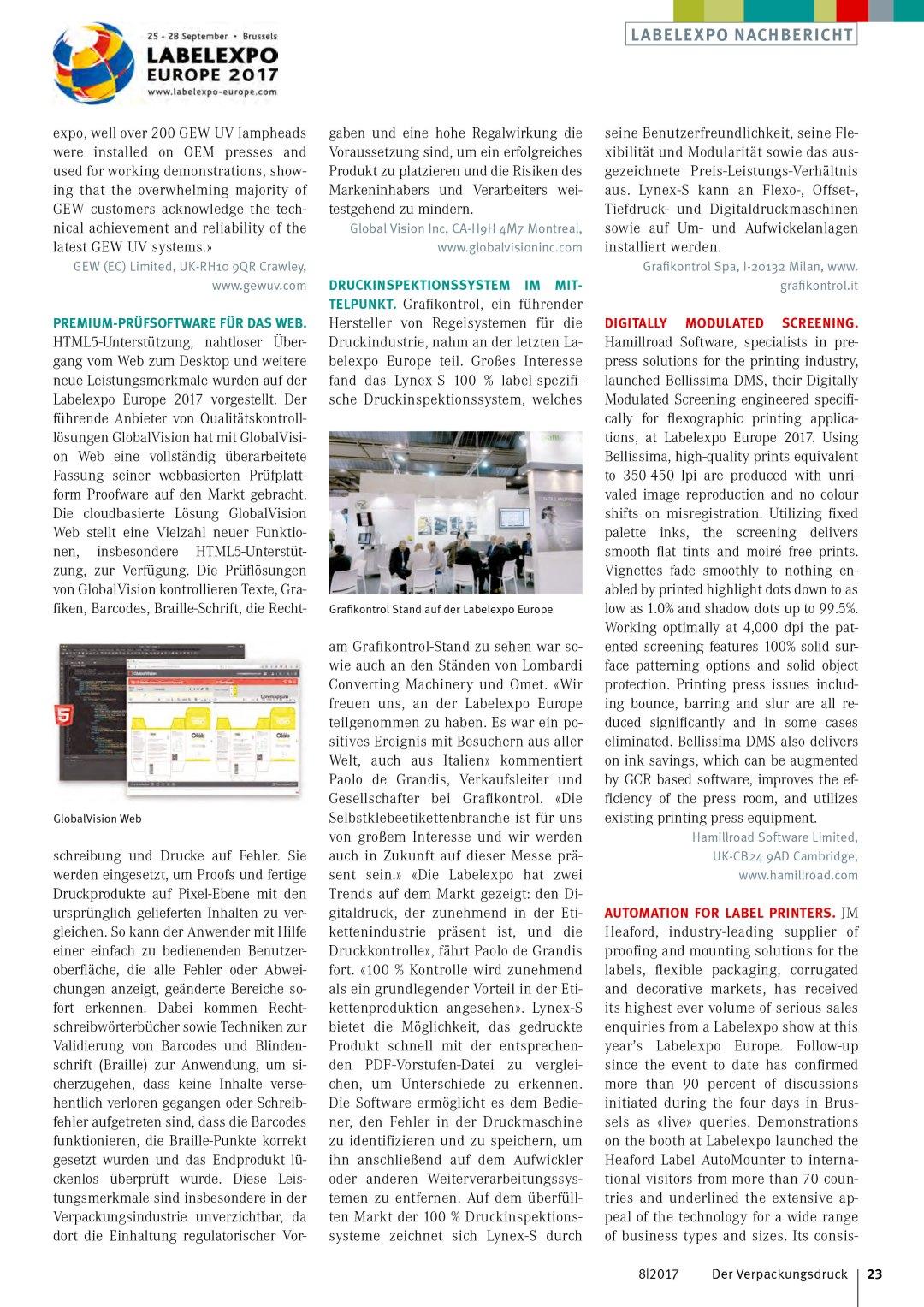 Der Verpackungsdruck Magazine for packaging printing - Label Expo Screening Bellissima