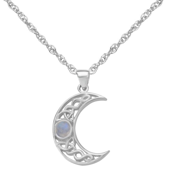 Celtic Crescent Moon Silver Pendant with Moonstone 9424
