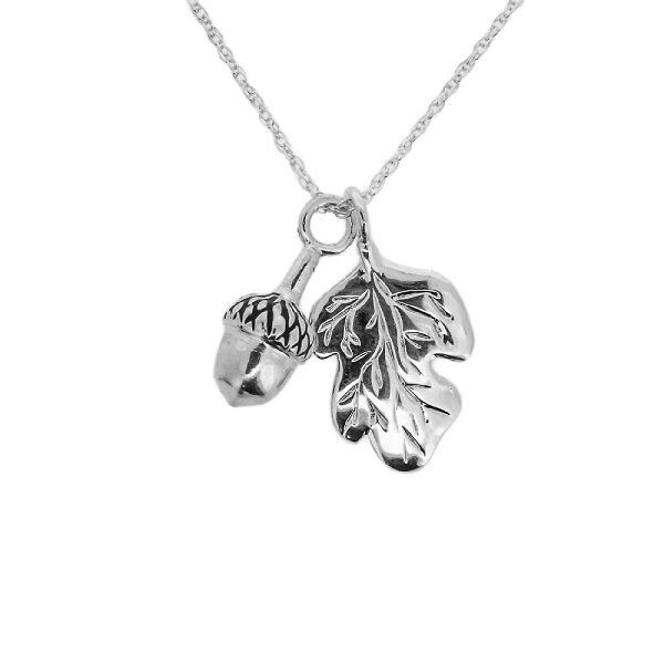 Jacobite Oak Leaf & Acorn Silver Plated Pendant 9878