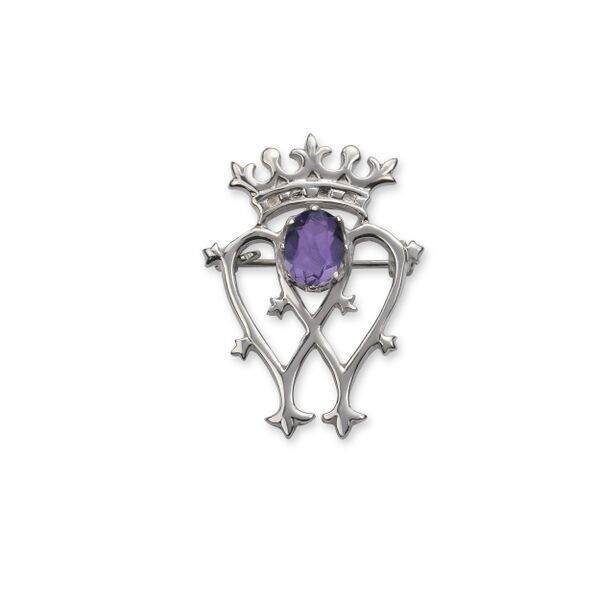 Scottish Luckenbooth Silver Brooch with Amethyst colour
