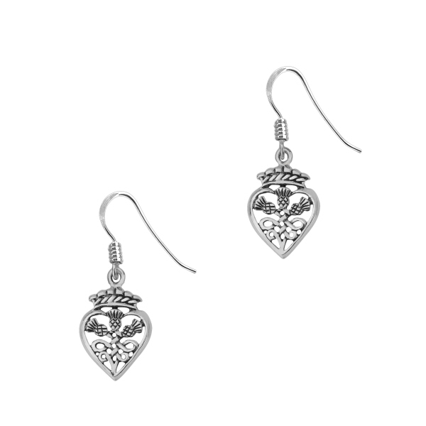 Scottish Thistle Crown Silver Heart Drop Earrings 0880