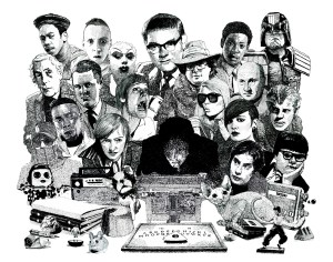 Psychic Investigator Hamilton Coe surrounded by allies and adversaries. Featured characters include Anthony Blunt, GZA, Smiley Culture, Ewen Bremner as Spud, Debbie Harry, Donald Pleasence, Roots Manuva, Divine, John Maus, Judge Dredd, Erkan Mustafa as Roland Browning