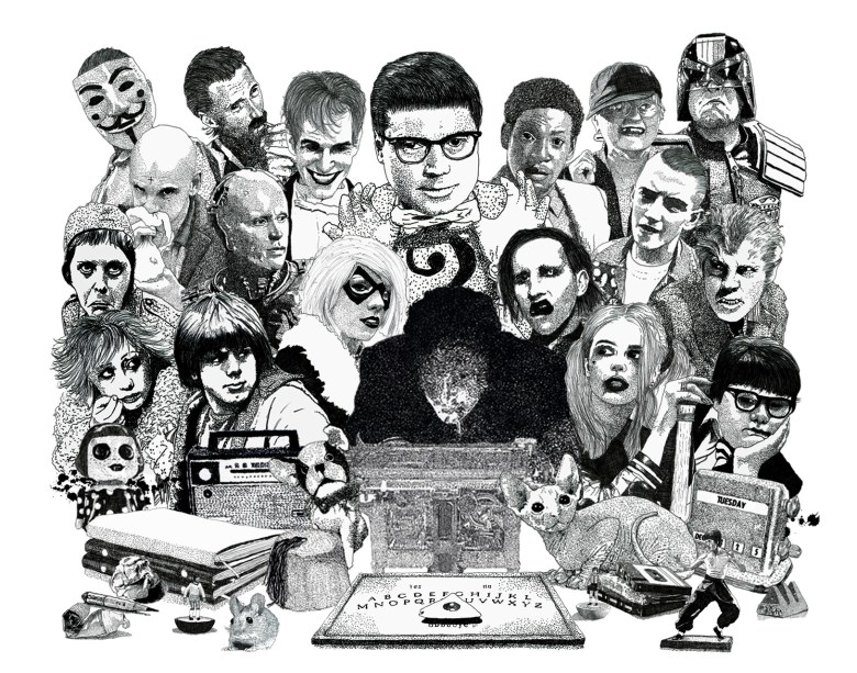 Psychic Investigator Hamilton Coe surrounded by allies and adversaries. Featured characters include Robert Carlyle as Begbie, Jilted John, Marilyn Manson, Roland Browning, Erkan Mustafa, Judge Dredd, Robocop, Genesis P. Orridge, Roots Manuva