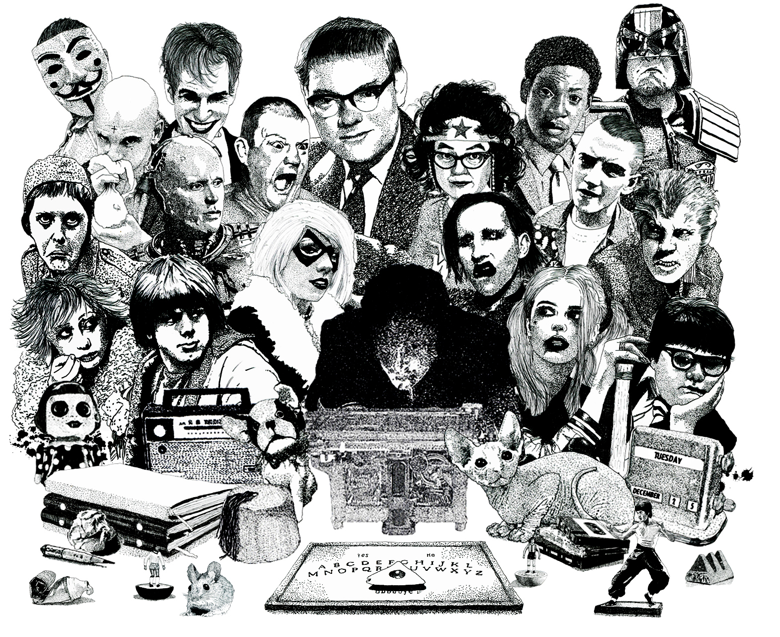 Psychic Investigator Hamilton Coe surrounded by allies and adversaries. Featured characters include Marilyn Manson, Roland Browning, Erkan Mustafa, Roots Manuva, Judge Dredd, Robocop, Jilted John, Honey Bane, Genesis P Orridge