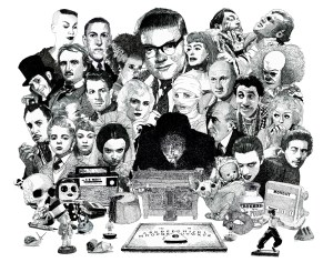 Psychic investigator Hamilton Coe surrounded by icons of horror. Featured characters include H.P. Lovecraft, Edgar Allan Poe, Algernon Blackwood, Vampira, Donald Pleasence, Pennywise, Joan Crawford, Screaming Jay Hawkins, Dave Vanian, Vincent Price, Pola Negri, Michael Redgrave as Maxwell Frere, Children of the Damned