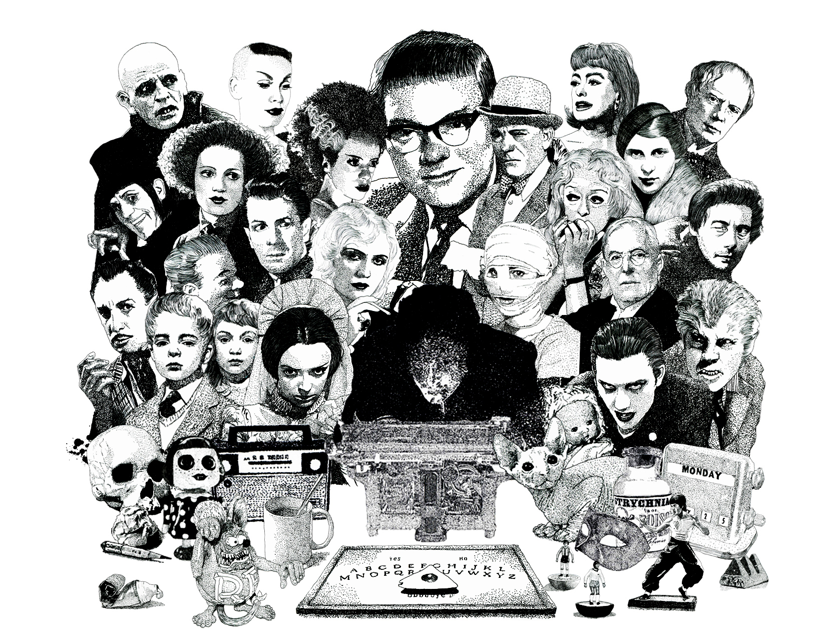Psychic Investigator Hamilton Coe surrounded by icons of horror. Featured characters include M.R. James, Dave Vanian, Bette Davis in Whatever Happened to Baby Jane, Arthur Machen, Joan Crawford, Lon Chaney, Elsa Lanchester, Bride of Frankenstein, Michael Redgrave from Dead of Night, Vincent Price, Klaus Kinski as Nosferatu, Barbara Steele and the Children of the Damned