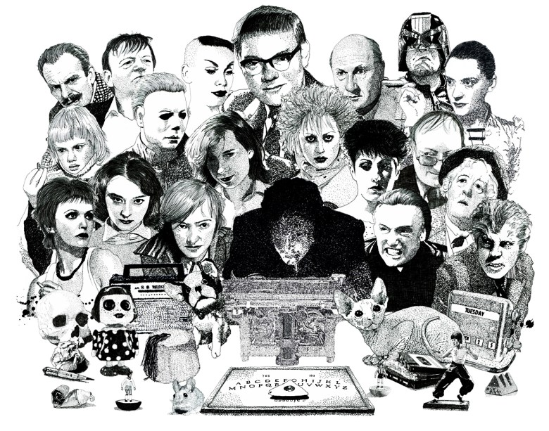 Psychic investigator Hamilton Coe surrounded by allies and adversaries. Featured characters include Mark E Smith, Vampira, Terry Thomas, Patricia Highsmith, Hayley Mills, Donald Pleasence, Honey Bane, Dennis Hopper, Judge Dredd, Miss Marple and Margaret Rutherford