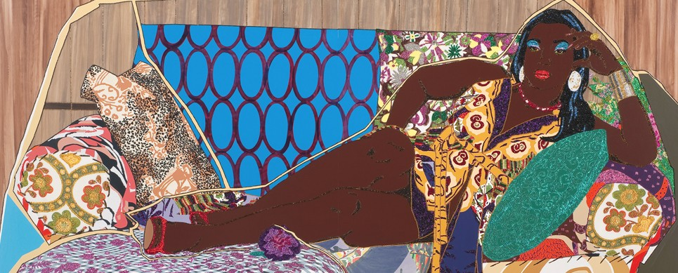 Mickalene Thomas, Collage, pigmented paper pulp, pochoir, digital print, applique