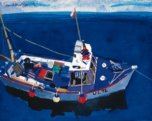 Fishing Boat, Ullapool. Blue Painting By Scottish Artist Hamish MacDonald