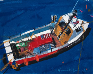 Painting of a fishing boat in St Monans Harbour in Fife, Scotland By Hamish MacDonald