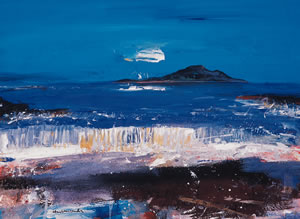 Painting of the waves from the beach on the Island of Arran, off the Scottish Coast. By Hamish MacDonald