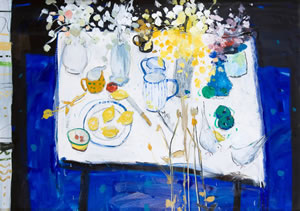 Still Life Painting by Scottish Artist Hamish MacDonald. Features a white table with flowers, doves and lemons