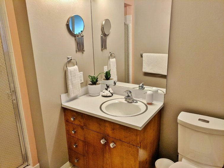 Mid-century modern master bathroom update