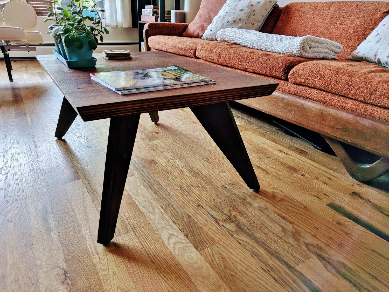 Retro living room with new hardwood floors