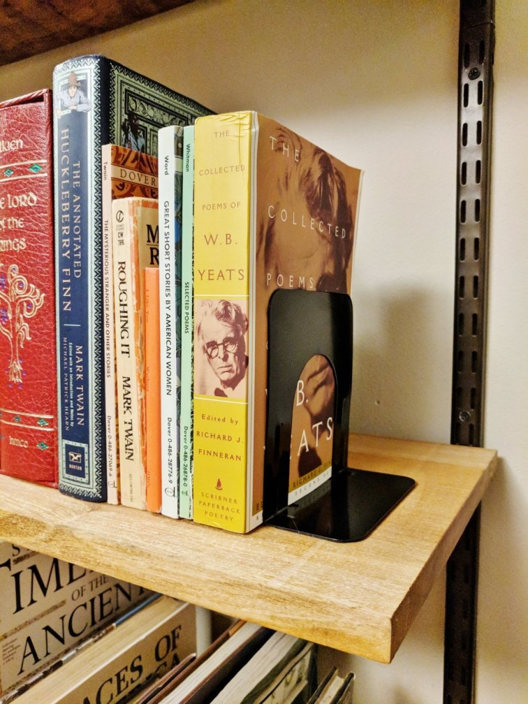 Bookends on DIY wall unit