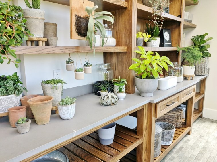 Potting table in gorgeous potting shed