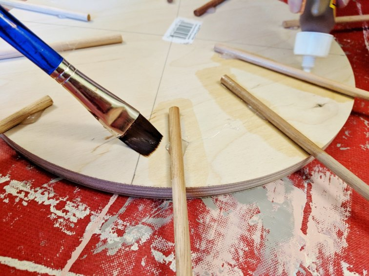 Attach the wood dowel rods with Gorilla Glue