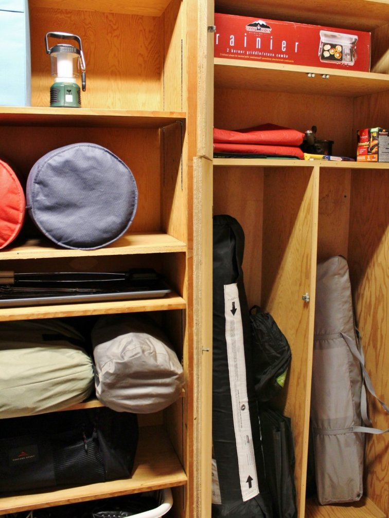Camping gear storage and organization