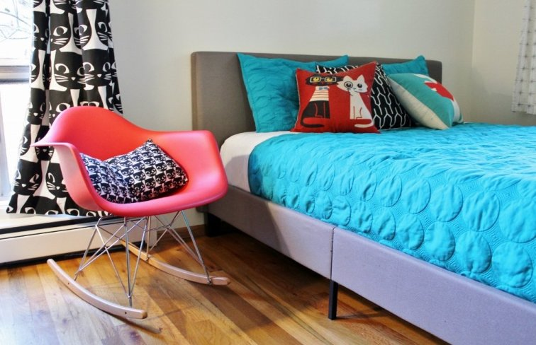 Style an Eames rocker with bold prints and colors