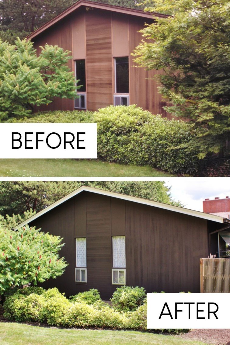 Mid-century fixer upper ranch with new siding stain before and after