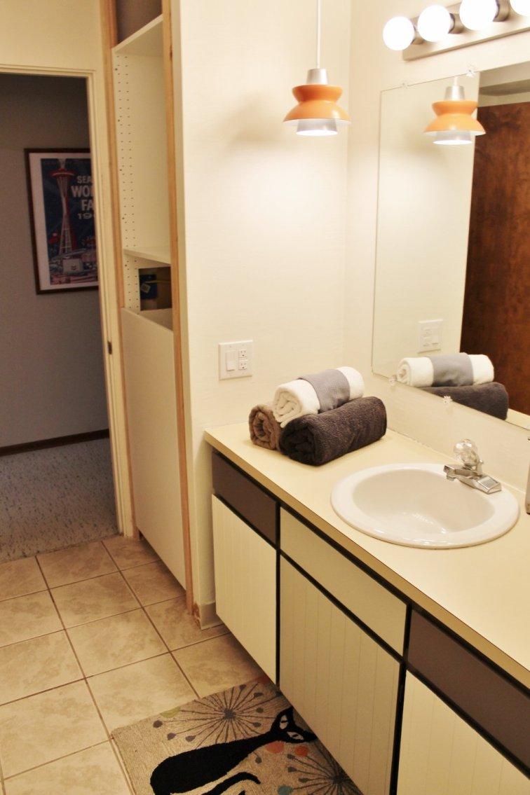 Fixer upper retro bathroom makeover in progress