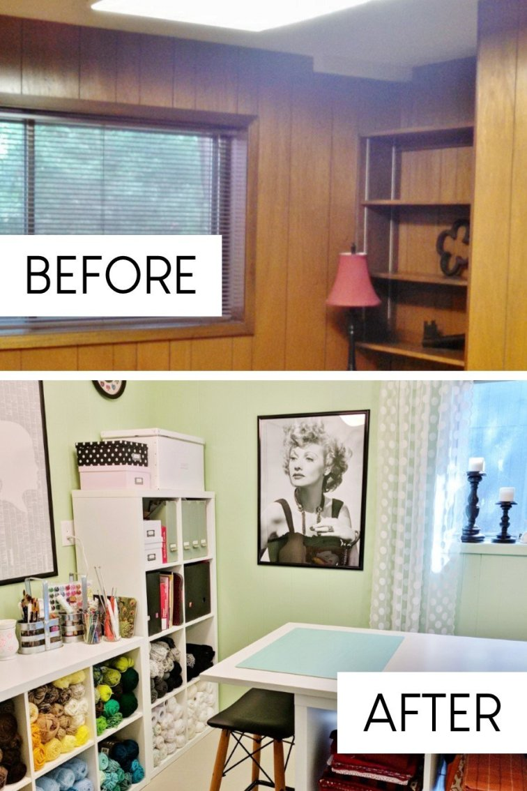 Retro I Love Lucy craft room makeover in fixer upper house before and after