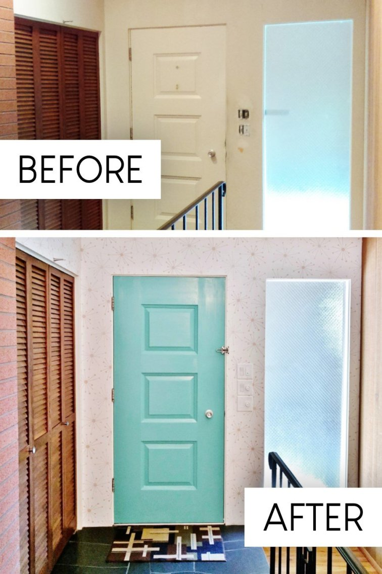Retro entryway makeover with Sputnik wallpaper before and after