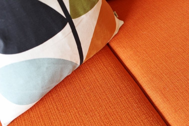 Orange mid-century modern couch upholstery fabric