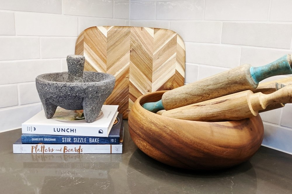 Kitchen counter styling with rolling pins