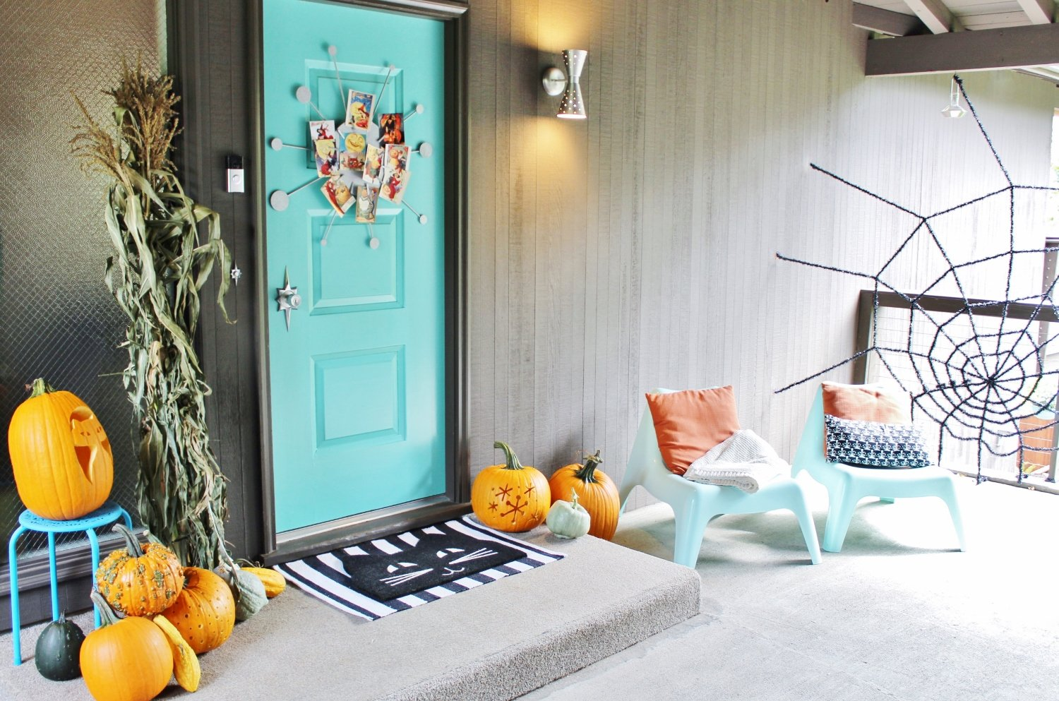 Midcentury modern front porch decorated for Halloween