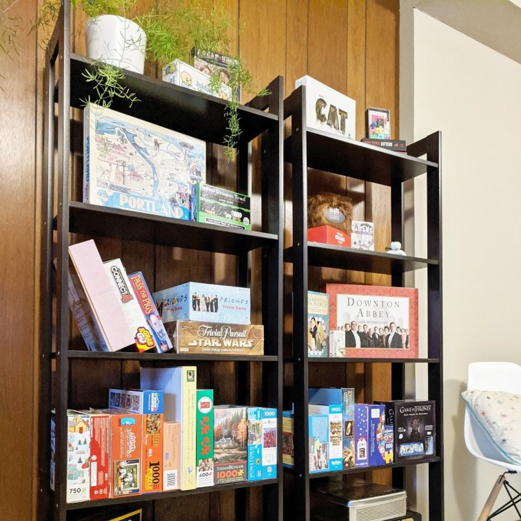 Modern board game storage idea with IKEA's Laiva bookcase