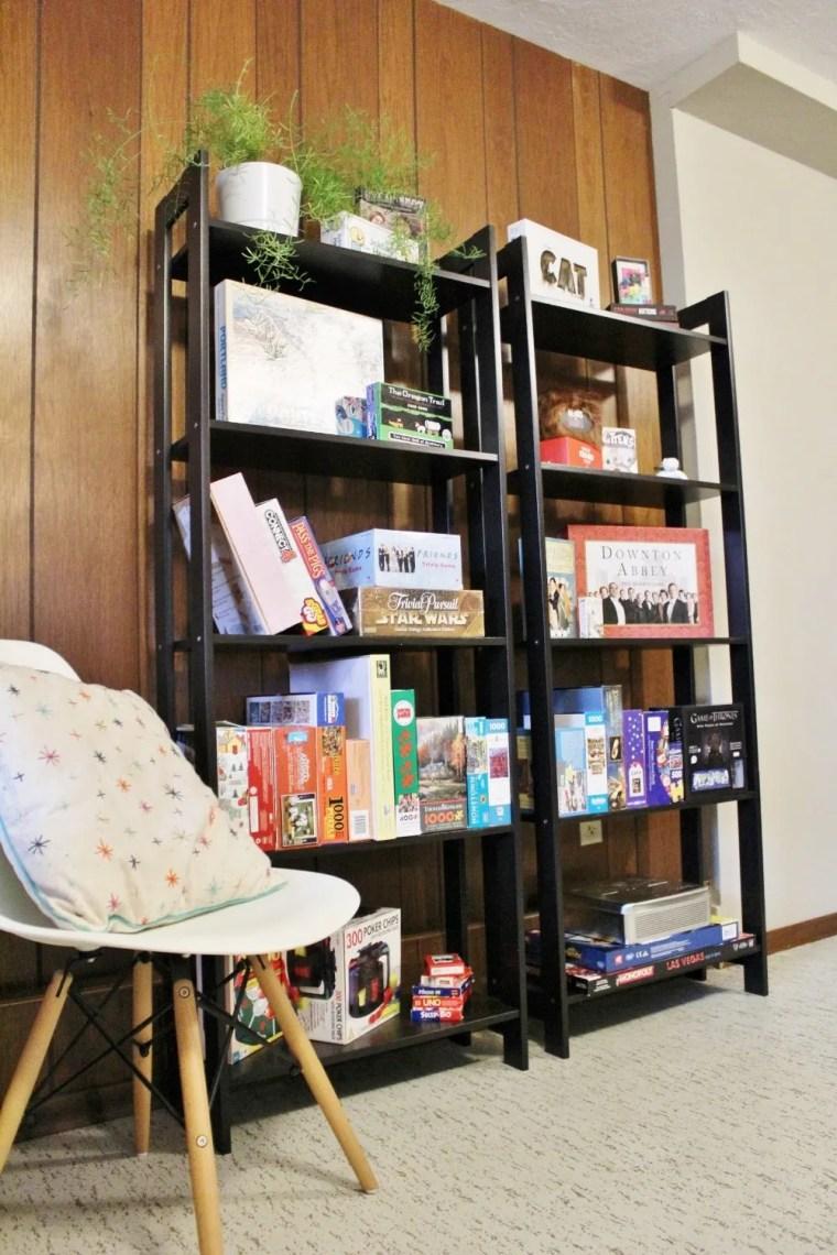 Board game storage idea with IKEA's Laiva bookcase