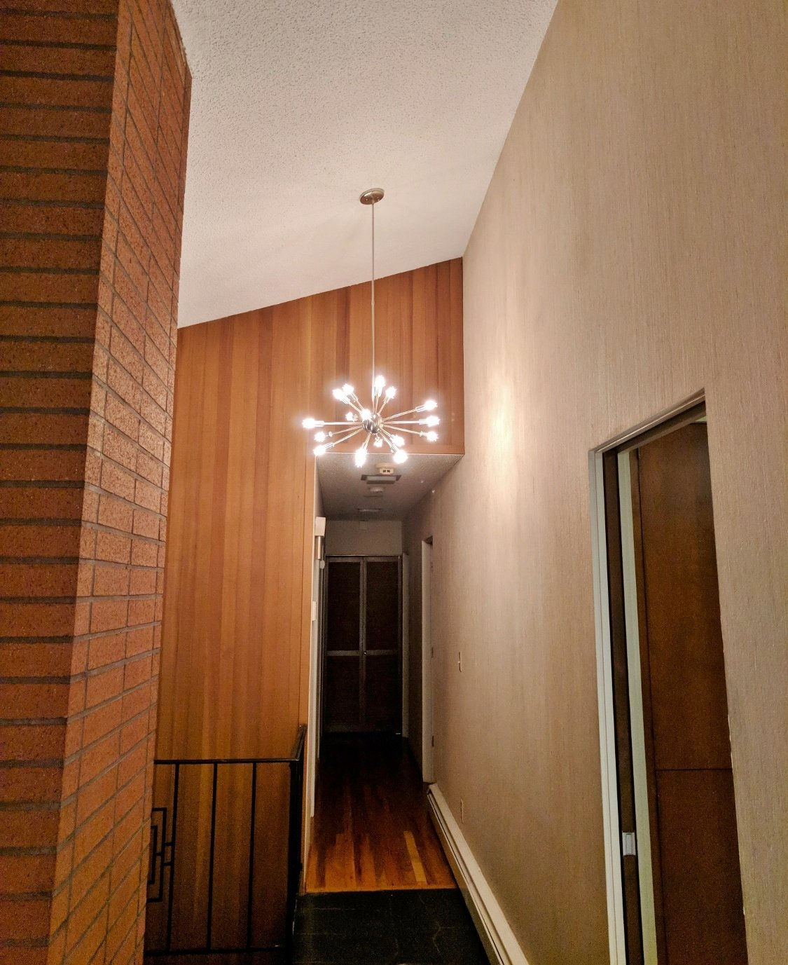 Sputnik light in midcentury modern home
