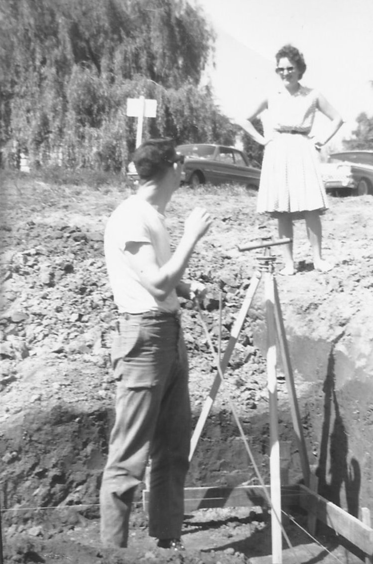 Couple building a house in the 1960s