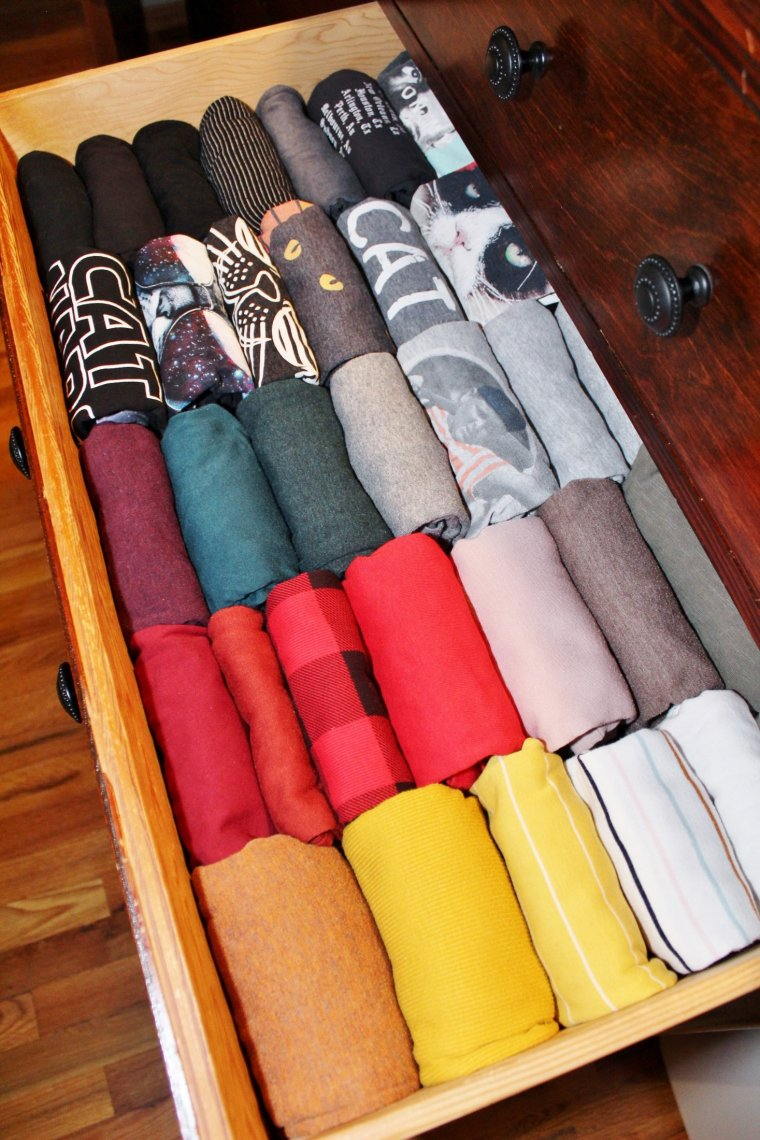 Shirts folded with KonMari method and sorted by color