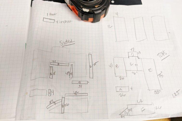 Measuring and sketching DIY laminate countertop plan