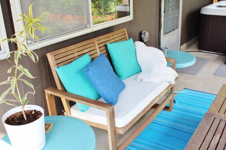 Outdoor furniture set in warm acacia wood