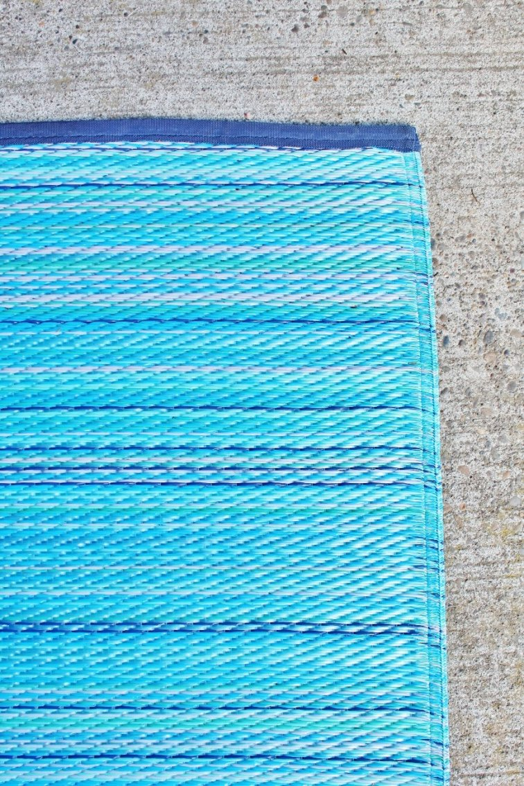Modern outdoor rug with shades of turquoise and blue