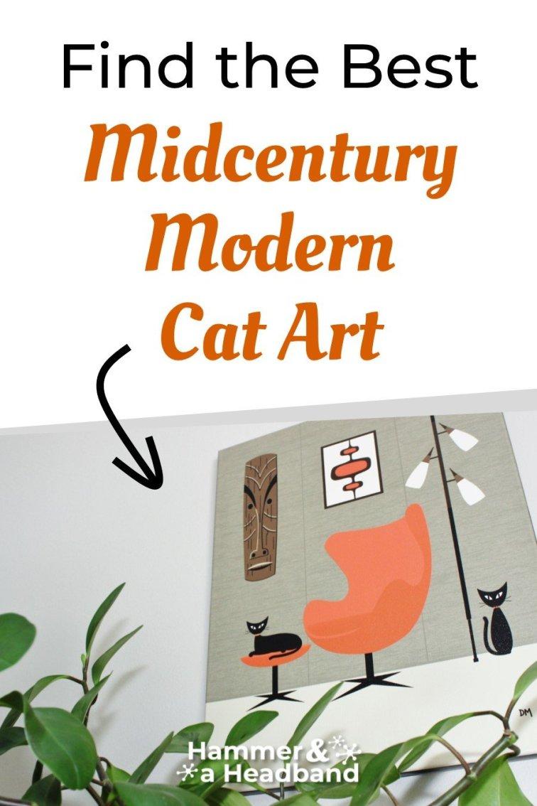 Find the best mid-century modern cat art