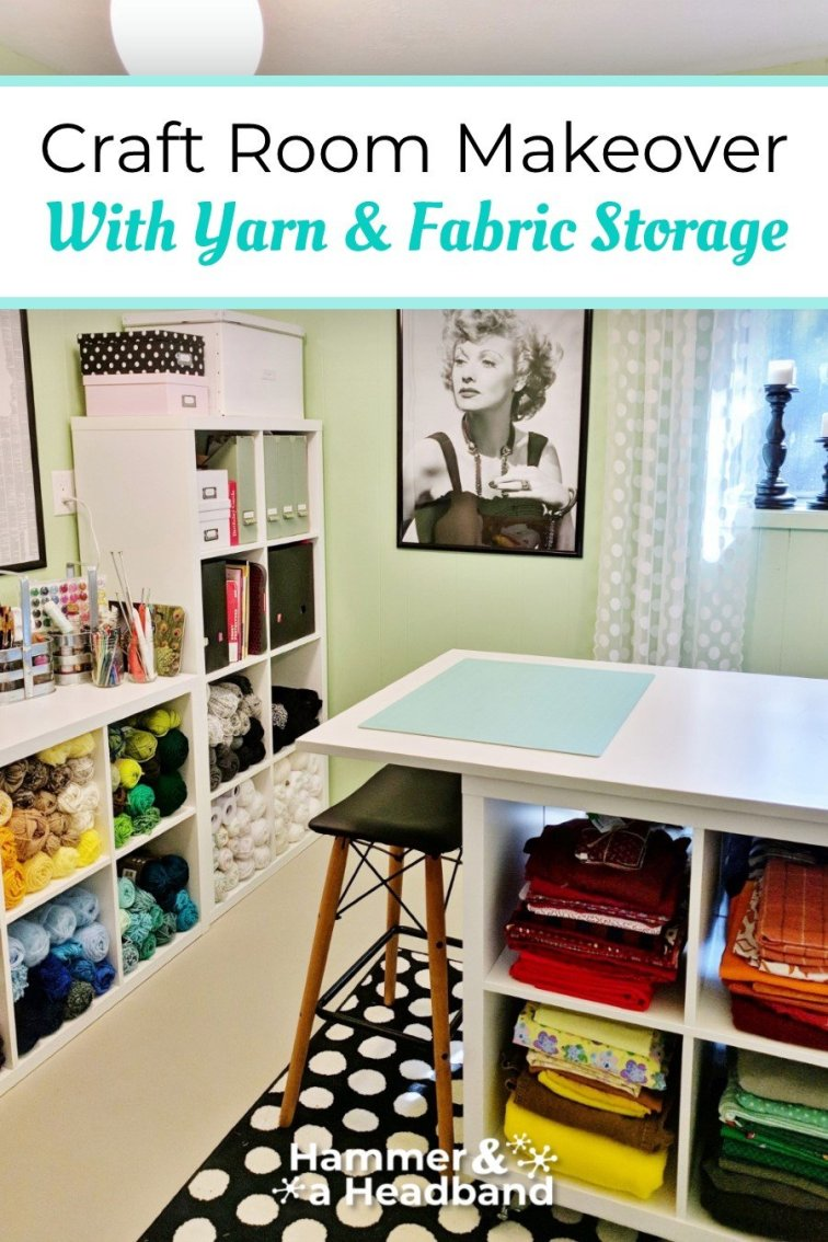 Craft room makeover with yarn and fabric storage
