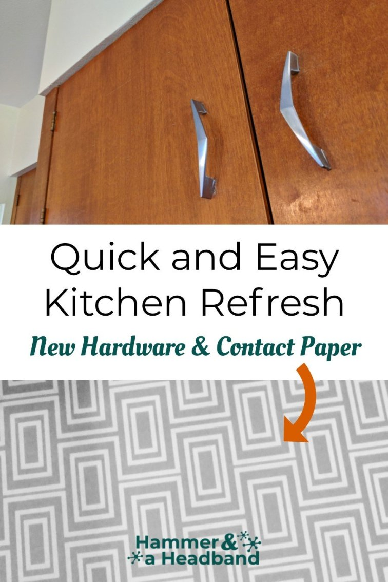 Quick and easy kitchen refresh with new modern hardware and contact paper