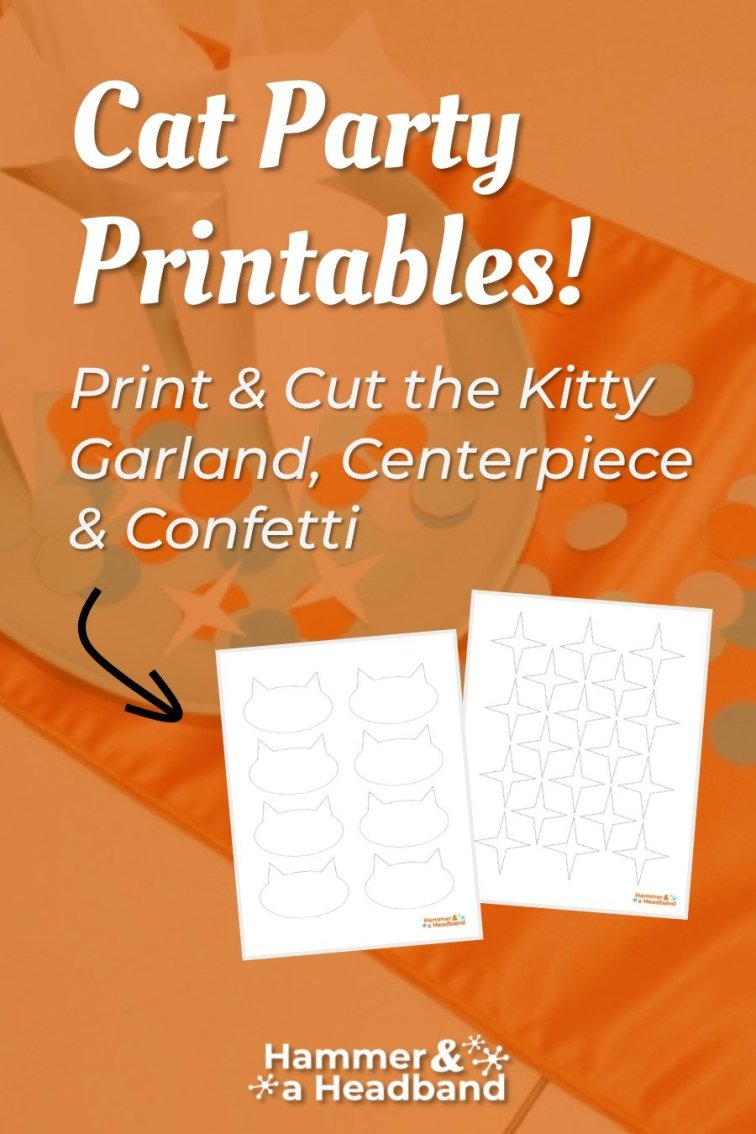 Cat party printables with kitty garland and centerpiece