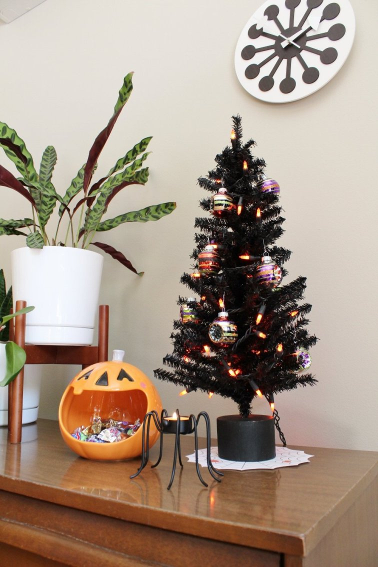 Tabletop Halloween tree with festive ornaments