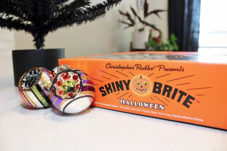 Box of Shiny Brite Halloween ornaments for a Halloween tree