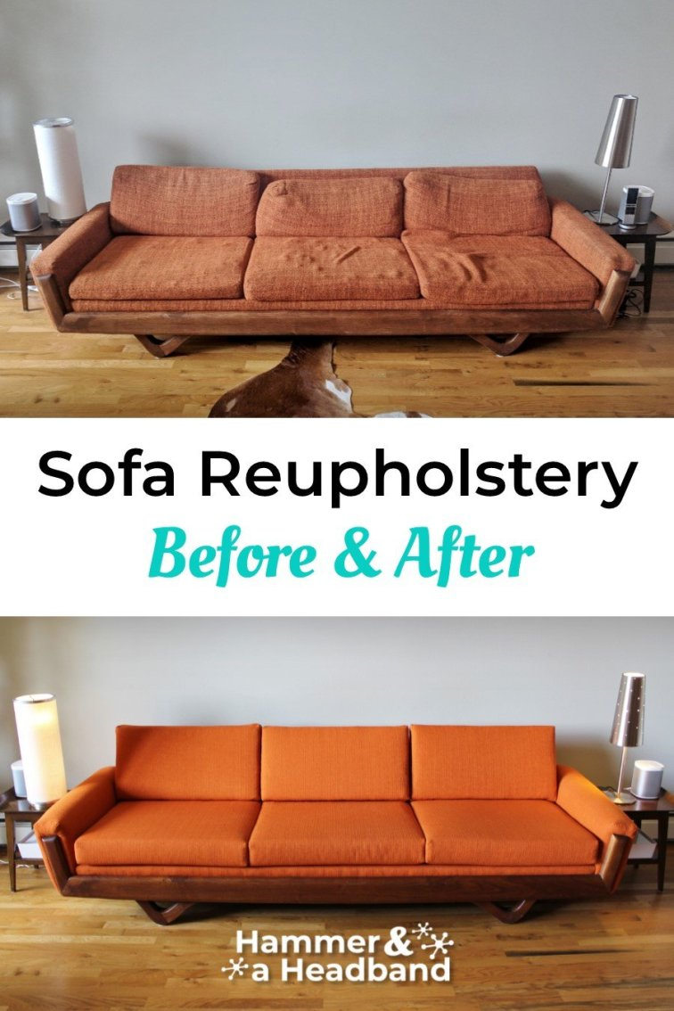 Sofa reupholstery transformation before and after