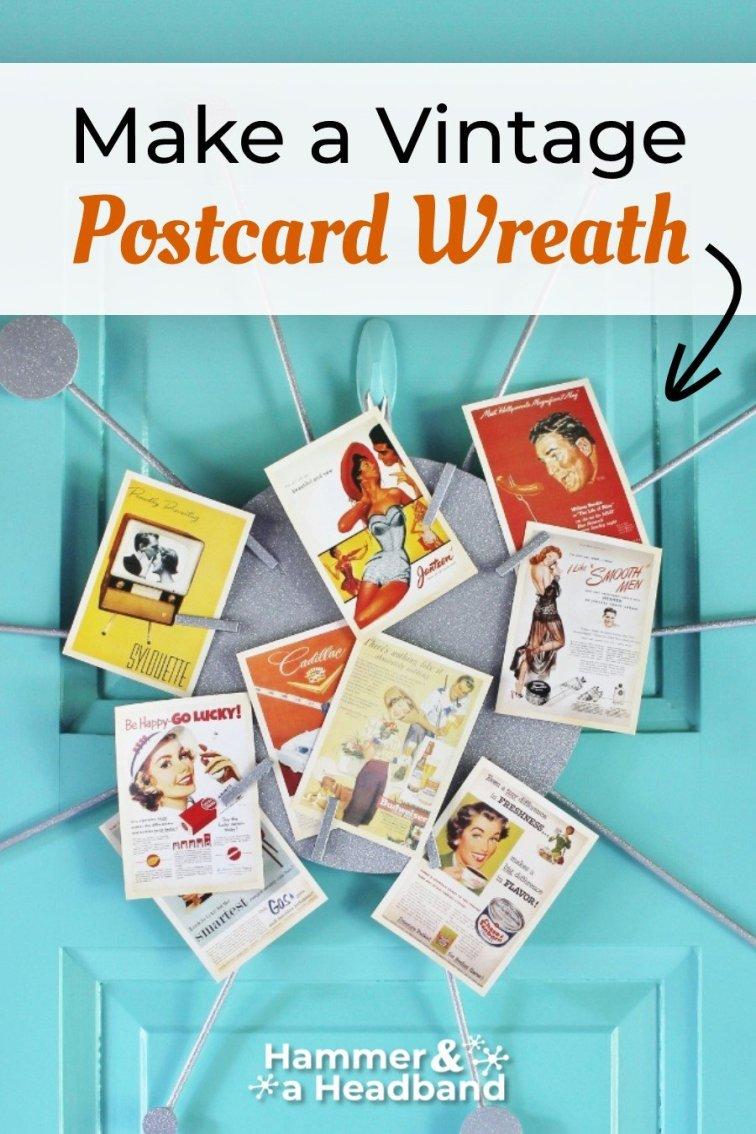 Make a vintage postcard wreath