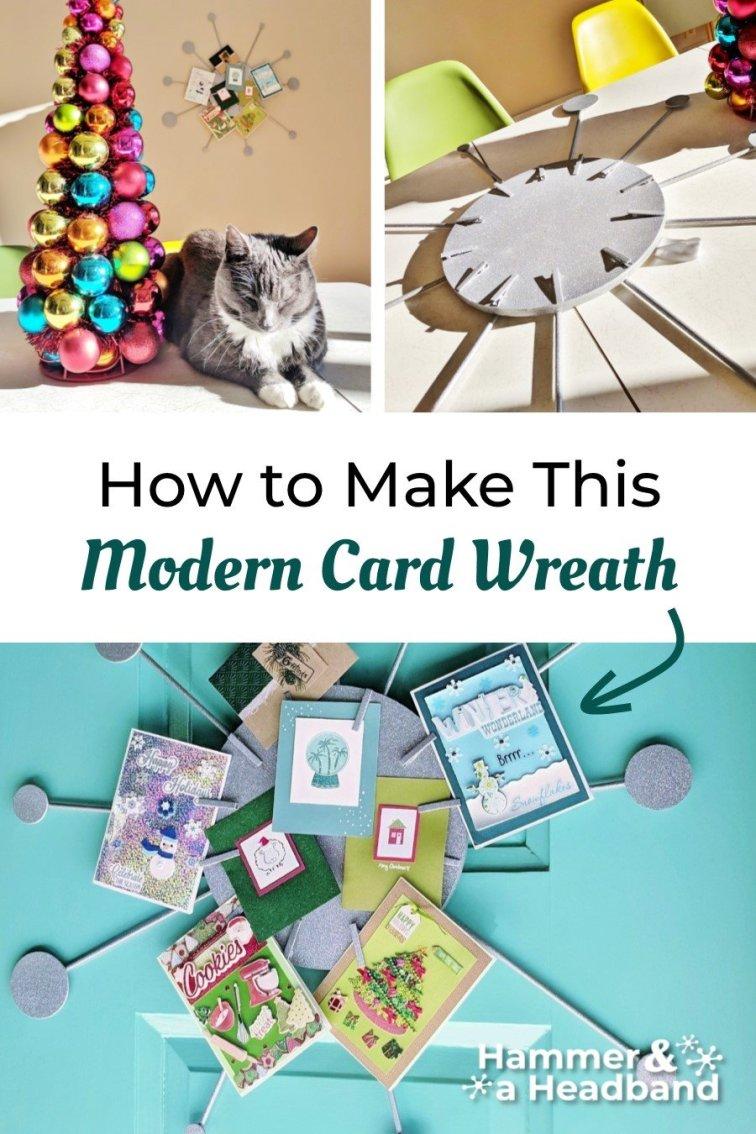 How to make a modern card wreath, Sputnik style