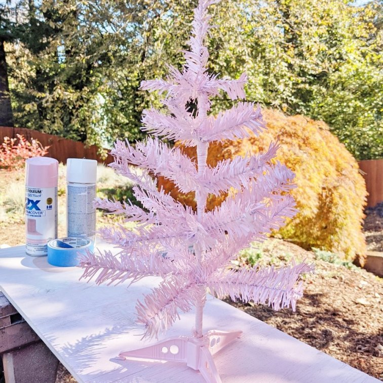 Dollar Tree Christmas tree spray painted pink